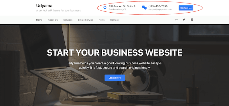 WordPress theme - Udyama - Custom Widgets in header