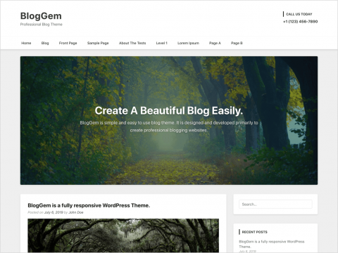 WordPress Blog Theme - BlogGem - Free