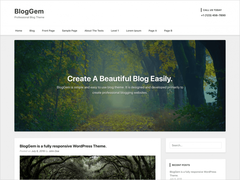 WordPress Blog Theme - BlogGem - Free