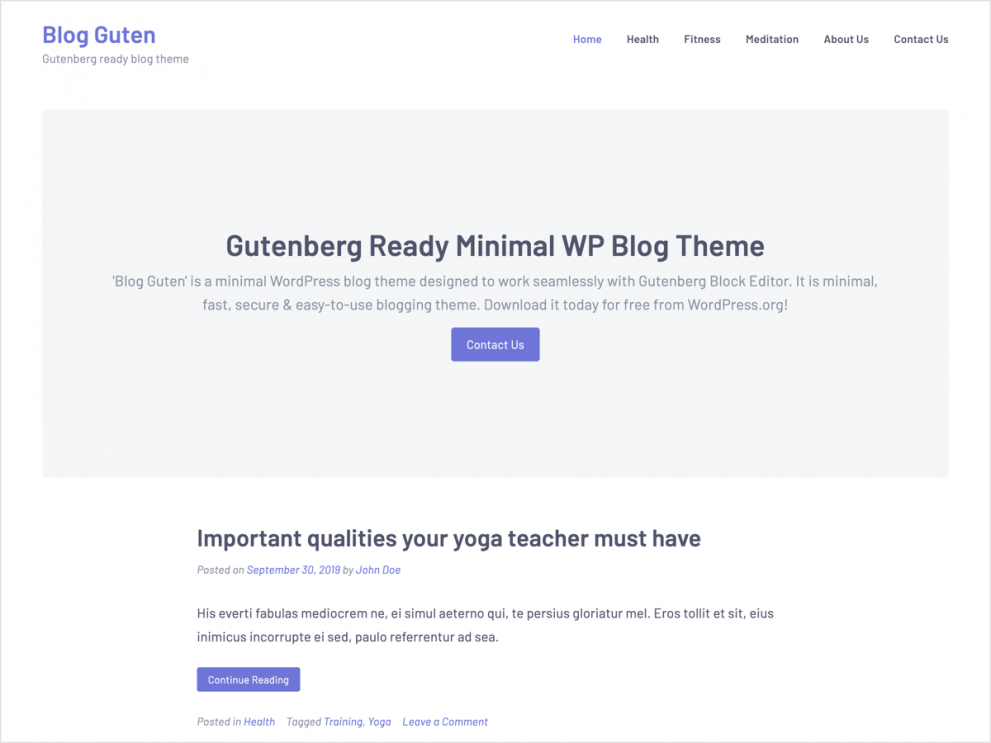 Blog Guten - Gutenberg WordPress Blog Theme